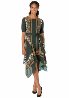 Adrianna Papell Medallion Scarf Animal Print Dress
