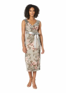 Adrianna Papell Metallic Matlesse Floral Midi Dress with Ribbon