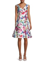Adrianna Papell Mikado Floral Pleated Dress
