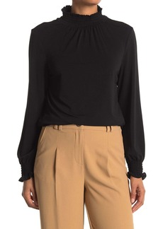 Adrianna Papell Mock Neck Long Sleeve Crepe Top