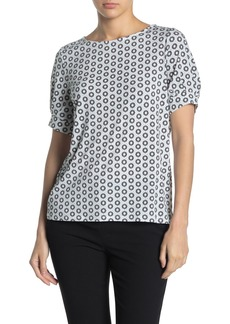 Adrianna Papell Moss Boatneck Print Crepe Top