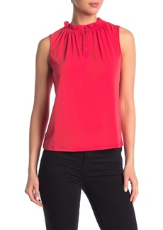 Adrianna Papell Moss Ruffle Neck Sleeveless Solid Top