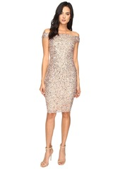 Adrianna Papell Off Shoulder Crunchy Bead Cocktail Dress