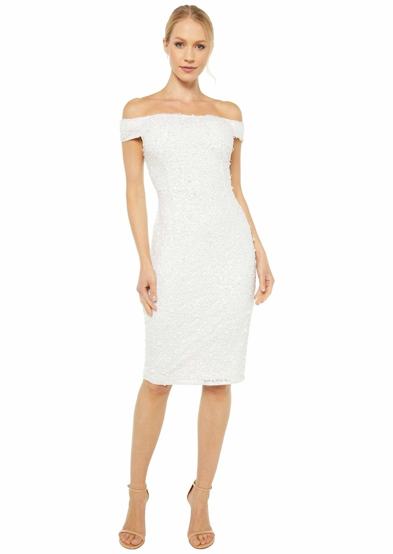 Adrianna Papell Off-the-Shoulder Crunchy Dress