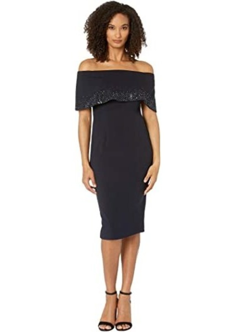 Adrianna Papell Off-the-Shoulder Cuff Cocktail Dress