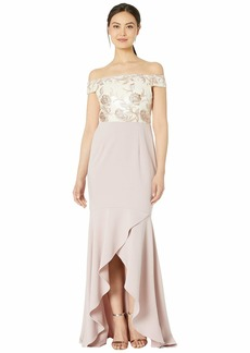 Adrianna Papell Off the Shoulder Embroidered Bodice Evening Gown