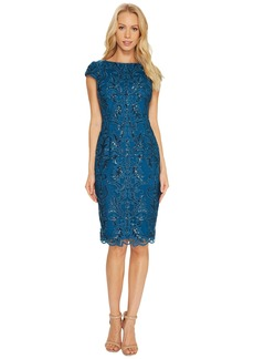 Adrianna Papell Off the Shoulder Sequin Scroll Cocktail Dress