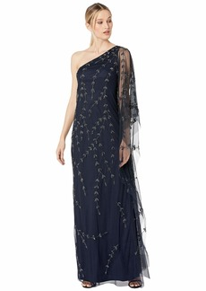 Adrianna Papell One Shoulder Beaded Kaftan Evening Gown