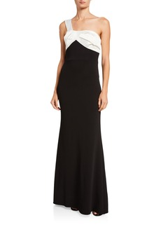 Adrianna Papell One-Shoulder Bow Back Dress