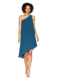Adrianna Papell One Shoulder Draped Gauzy Crepe Dress