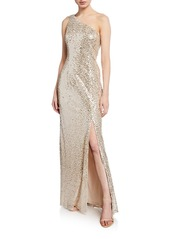Adrianna Papell One-Shoulder Sequined Gown