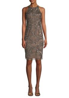 Adrianna Papell Paisley Beaded Sheath Dress