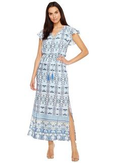 Adrianna Papell Pieced Paisley Printed CDC Blouson Maxi Dress w/ Short Sleeves