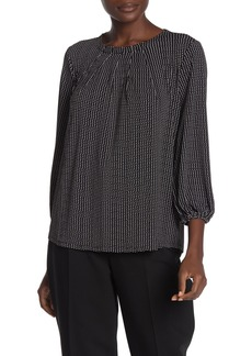 Adrianna Papell Pleat Neck Long Sleeve Blouse