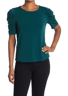 Adrianna Papell Pleat Sleeve Solid Knit Moss Crepe Top
