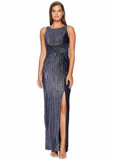 Adrianna Papell Pleat Velvet Column Dress