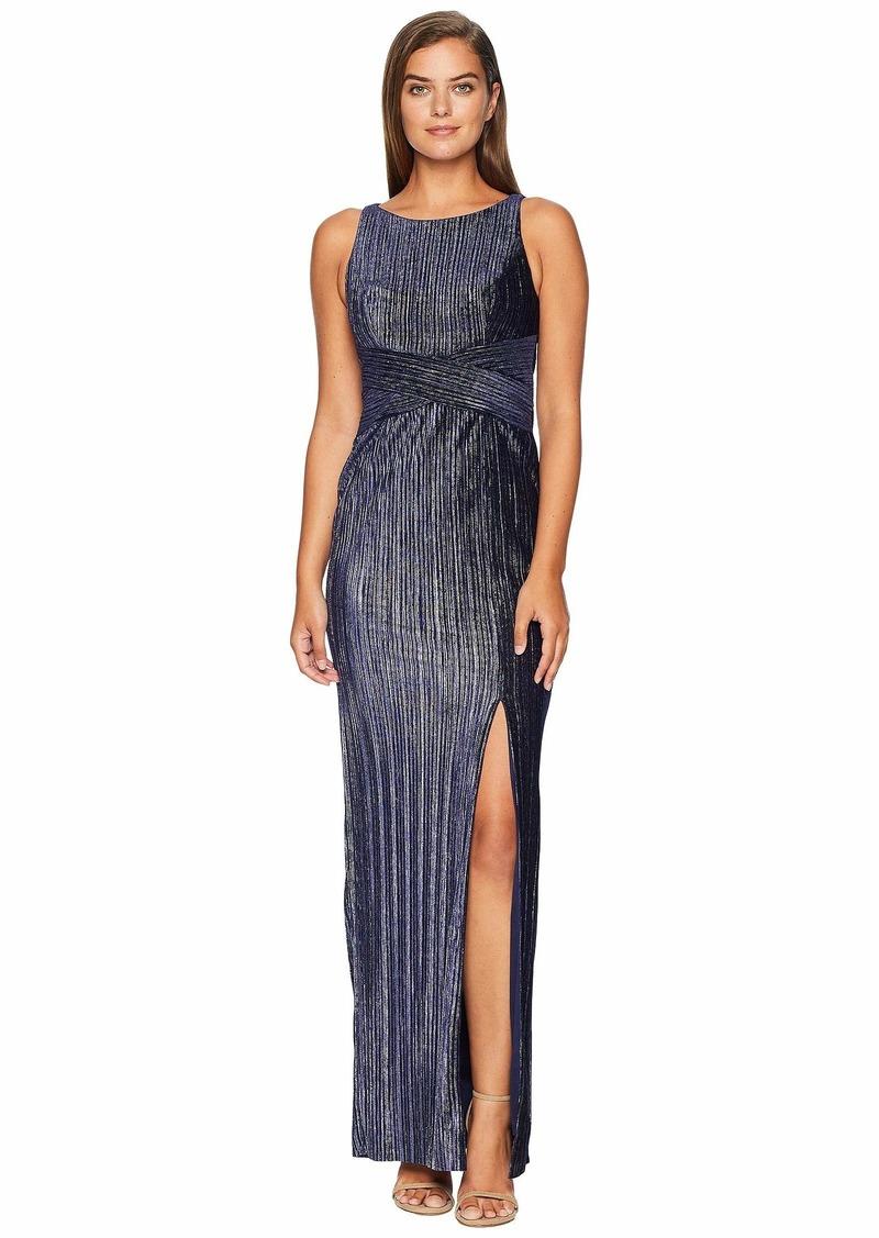 Adrianna Papell Pleat Velvet Column Dress