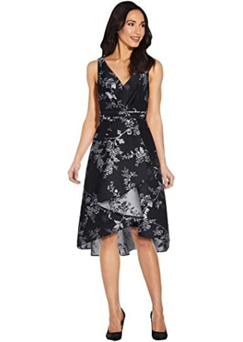 Adrianna Papell Pleated Bodice Wrap High-Low Jacquard Dress