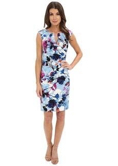 Adrianna Papell Pleated Jacquard Side Wrap Dress