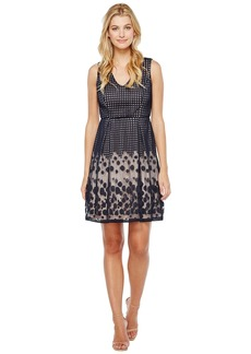Adrianna Papell Pleated Plaid Dot Lace V-Neck Fit and Flare Dress