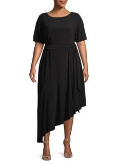 Adrianna Papell Plus Asymmetrical Midi Dress