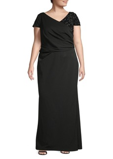 Adrianna Papell Plus Beaded V-Neck Gown