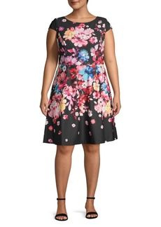 Adrianna Papell Plus Floral-Print A-Line Dress