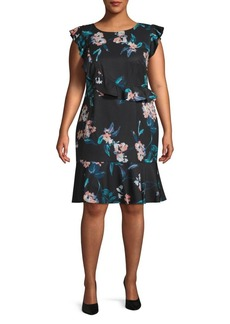 Adrianna Papell Plus Royal Vines Printed Sheath Dress