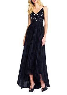 Adrianna Papell Polka-Dot Bodice Tulle-Skirt Gown
