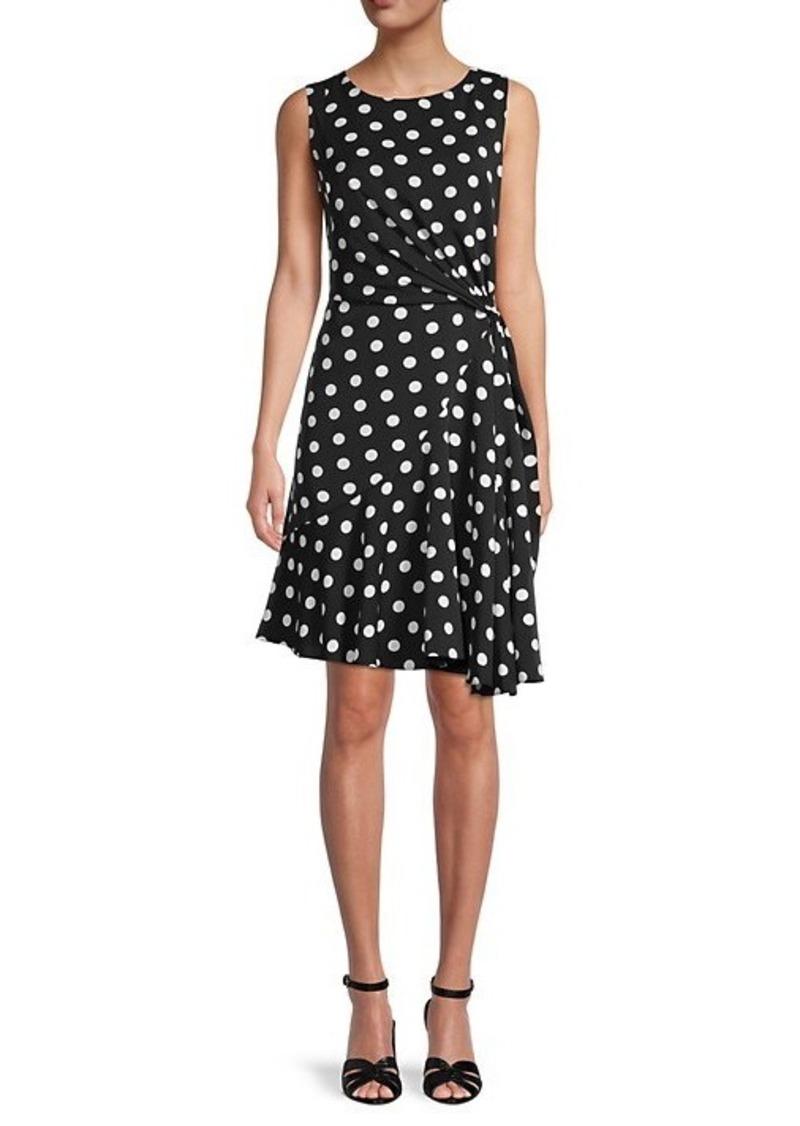 Adrianna Papell Polka Dot Draped Dress
