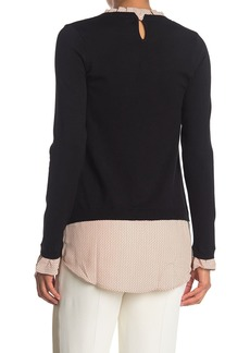 Adrianna Papell Polka Dot Ruffle Neck Twofer Sweater