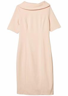 Adrianna Papell Roll Neck Sheath Collar Dress w/ V-Back