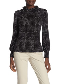 Adrianna Papell Ruffle Mock Neck Printed Blouse
