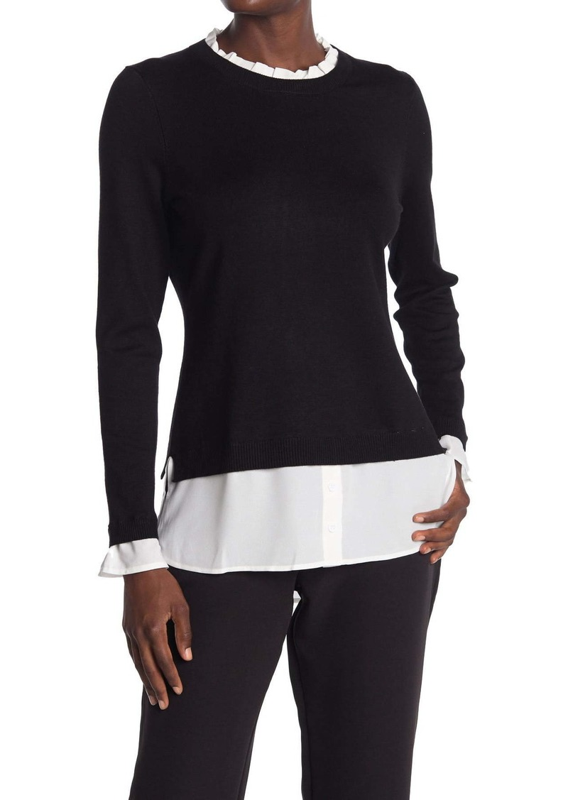 Adrianna Papell Ruffle Neck Twofer Sweater