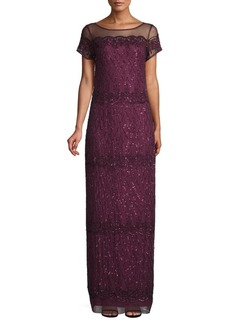 Adrianna Papell Scalloped Bead Column Gown