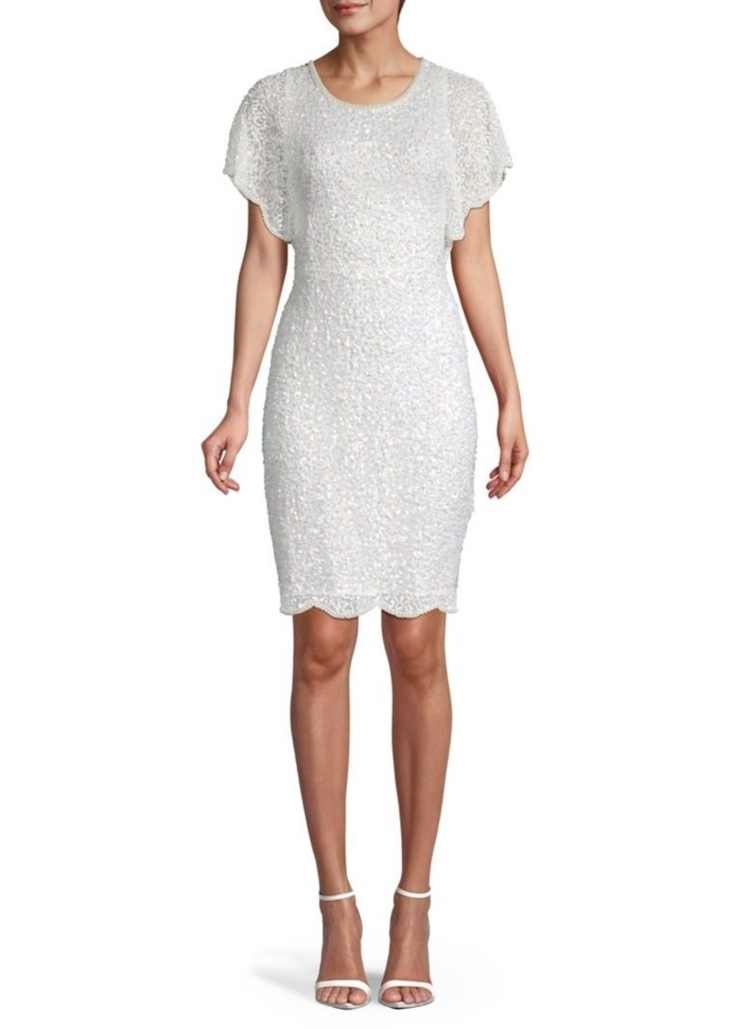 Adrianna Papell Scalloped Faux Pearl & Sequin Sheath Dress