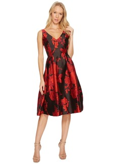 Adrianna Papell Scarlett Jacquard Tea Length Fit and Flare Dress