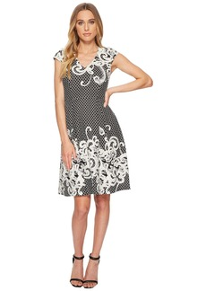 Adrianna Papell Scroll Border Knit Fit and Flare