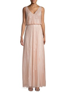 Adrianna Papell Sequin Embellished Popover Gown