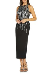 Adrianna Papell Sequin Halter Midi Dress