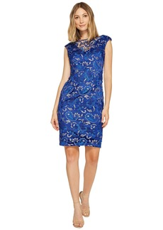 Adrianna Papell Sequin Lace Cap Sleeve Sheath Dress