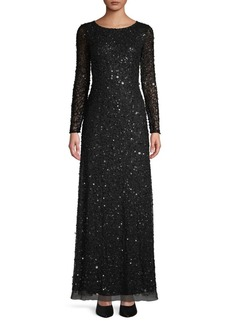 Adrianna Papell Sequin Long-Sleeve Gown