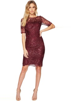 Adrianna Papell Short Sequin Embroidered Cocktail Dress with 3/4 Sleeve