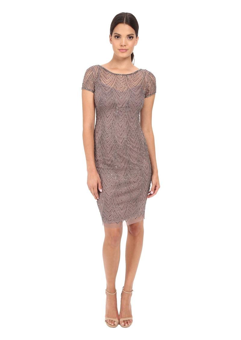 90bab42e19 Adrianna Papell Short Sleeve Beaded Cocktail Dress