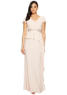 Adrianna Papell Short Sleeve Draped Jersey Gown with Beaded Waist and Asymmetrical Peplum