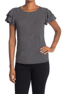 Adrianna Papell Short Sleeve Knit Dot Print Moss Crepe Top