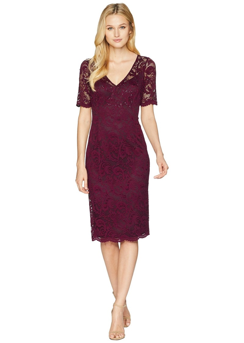 Adrianna Papell Short Sleeve Stretch Lace Cocktail Dress with Scattered Beads