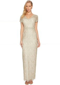 Adrianna Papell Short Sleeve V-Neck Long Metallic Lace Gown
