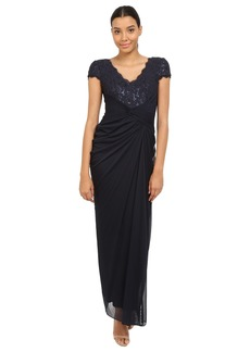 Adrianna Papell Short Sleeve V-Neck Shirred Gown