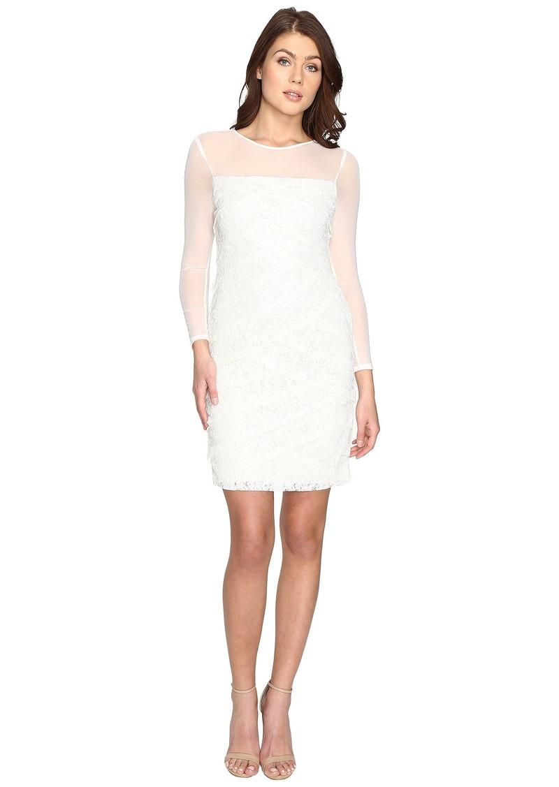 Adrianna Papell Shutter Tuck Lace Sheath Dress